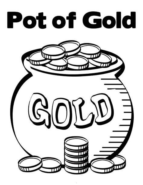 pot of gold coloring page printable gold coins clipart 43