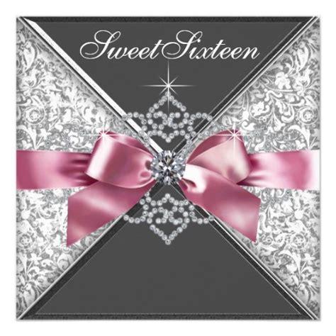 Handmade Sweet 16 Invitations - white diamonds pink black sweet 16 birthday
