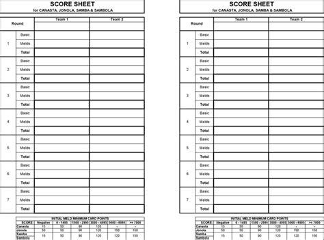 canasta score card template canasta score sheet free premium templates