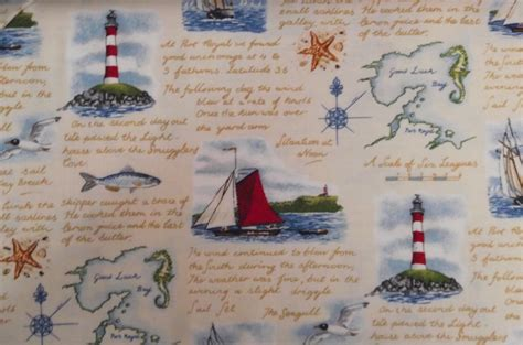 Sailboat Quilt Fabric by Lighthouse Nautical Fabric Nautical Diary Sailboats By