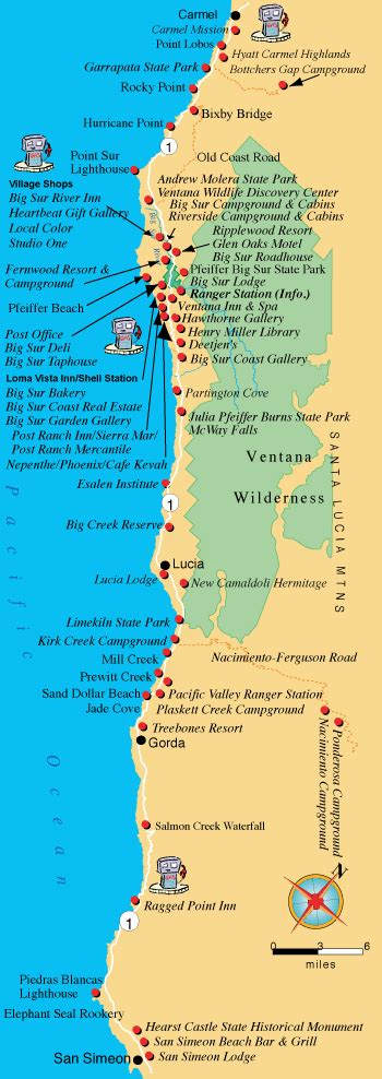 big sur map maps directions and transportation to big sur california