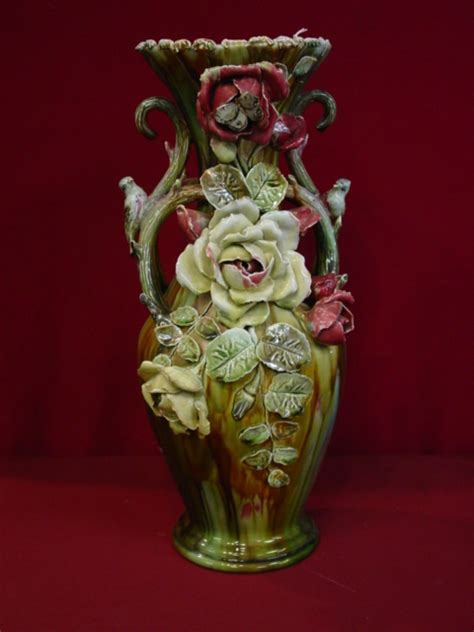Ornate Vases by Majolica 19th C Ornate Vase W Roses