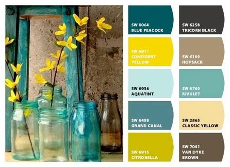 what colors look good with green teal brown yellow color pallet paint colors pinterest