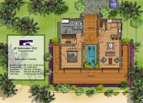 tropical home floor plans tiny home brazil option 2 with twin bedrooms such as for