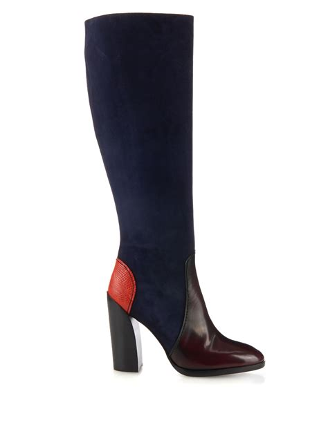 jil sander suede and leather knee high boots in blue lyst