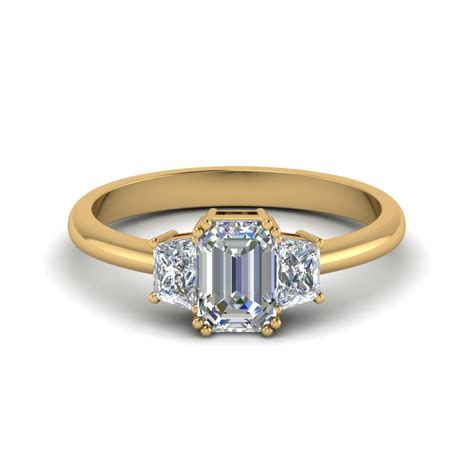 emerald cut trapezoid engagement ring in 14k