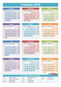 Calendar 2018 Year 2018 Calendar With Holidays Printable Yearly Calendar