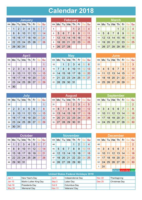 Calendar With Holidays For 2018 2018 Calendar With Holidays Printable Yearly Calendar