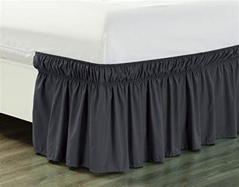 elastic bed skirt wrap around 18 quot inch fall grey ruffled elastic solid bed skirt fits all queen king