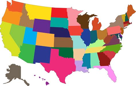 america map transparent clipart multicolored united states map
