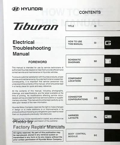 2003 hyundai tiburon electrical troubleshooting manual original 2003 hyundai tiburon electrical troubleshooting manual original etm factory repair manuals