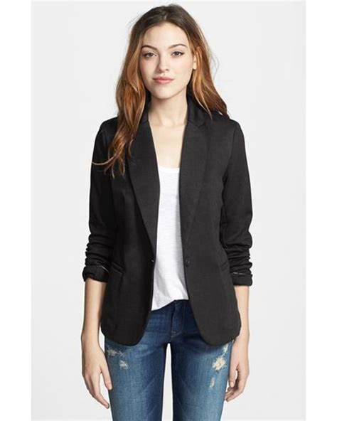 black knit blazer moon knit blazer in black save 27 lyst