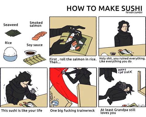 How To Make A Meme Comic With Your Own Picture - how to make sushi kylo ren version how to make sushi