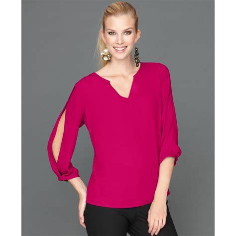 blouse intl inc international concepts split sleeve blouse in pink