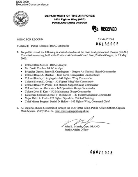 Memo Template Cc Memorandum From The Affairs Office 142nd Fighter Wing Cc Portland Ang Oregon
