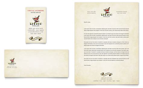 Body Art Tattoo Artist Business Card Letterhead Template Design Letterhead And Business Card Templates