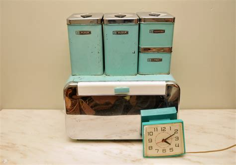 metal kitchen canister sets vintage turquoise metal kitchen canister set with by whitepicket