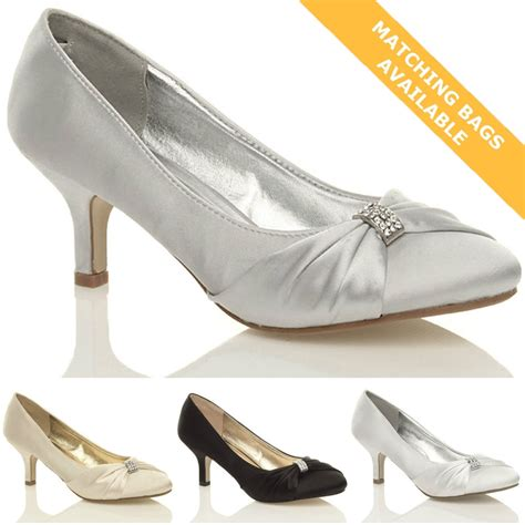 schuhe hochzeit damen womens wedding bridal prom shoes low heel