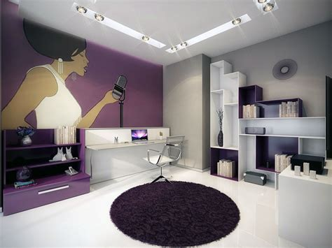 modern interior design with fresco wall murals inspired by modern wall mural work room with purple and white color