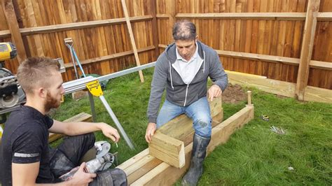 build  wooden sleeper raised bed part  youtube