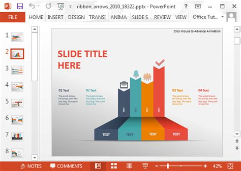 using a powerpoint template animated ribbon arrows infographic powerpoint template