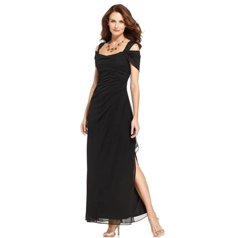 draped evening dress alex evenings sleeveless draped evening dress in black lyst