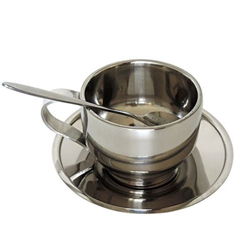 Set Cup Mat lingstar stainless steel coffee cup set include mat spoon cup