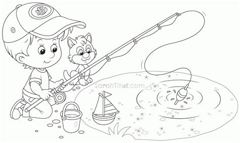 coloring page of boy fishing coloring pages of boy fishing coloring home