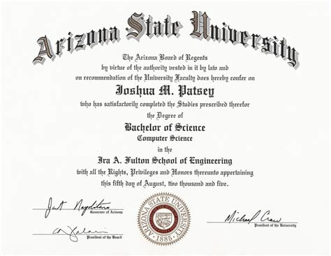 college degree template printable college diploma template asu