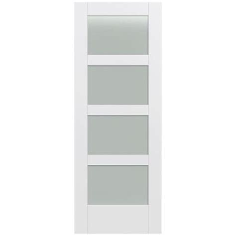 White Glass Panel Interior Doors Jeld Wen 32 In X 80 In Moda Primed White 4 Lite Solid Wood Interior Door Slab With