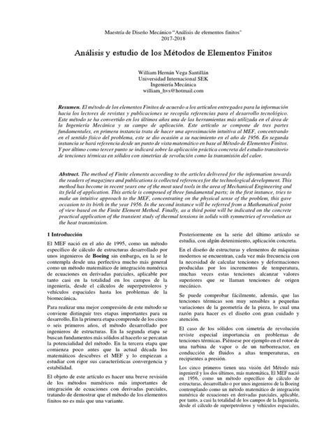Articulo Metodos de Elementos Finitos | Método de