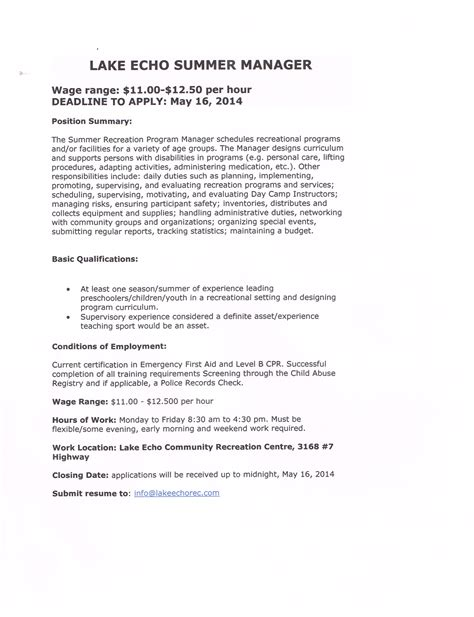 Volunteer Youth Worker Cover Letter by Employment Volunteer Recruitment Lake Echo Communityvolunteer Resume Business Letter Sle