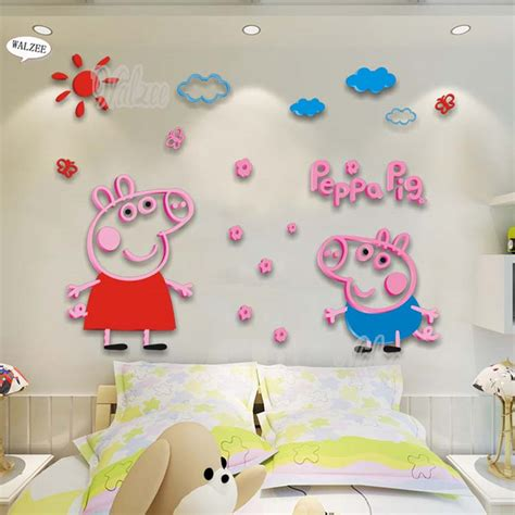 peppa pig couch peppa pig george acrylic crystal wall sticker 3d acrylic