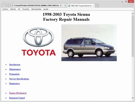 vehicle repair manual 2001 toyota sienna parking system toyota sienna 1998 2003 workshop service repair manual ebay