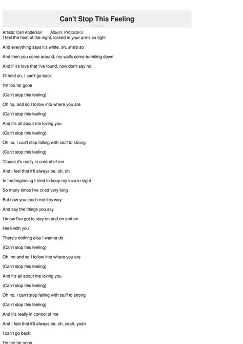 can i this testo can t stop this feeling lyrics carl