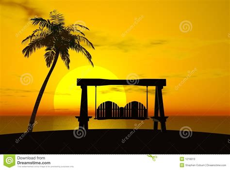 sunset swings prices palm tree sunset and swing stock illustration image