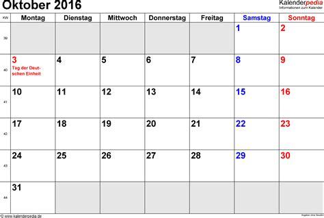 Oktober Kalender 2016 Kalender Oktober 2016 Als Excel Vorlagen
