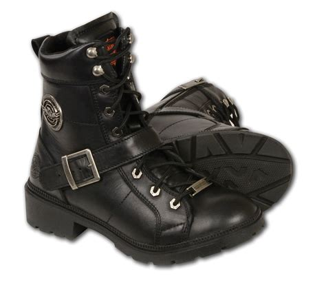 black leather lace up boots w side buckle plain toes