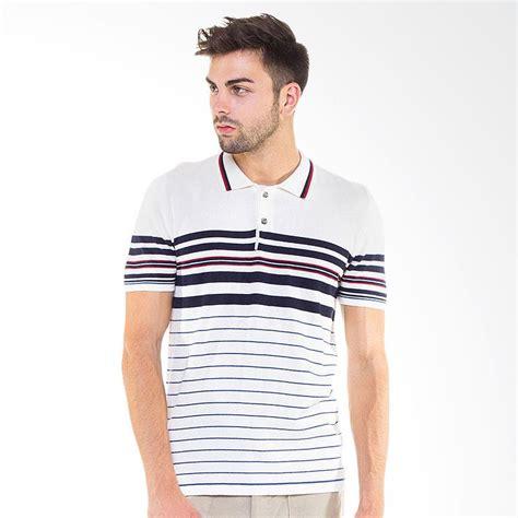 Kaos Offwhite jual knitwork custom striped polo shirt white