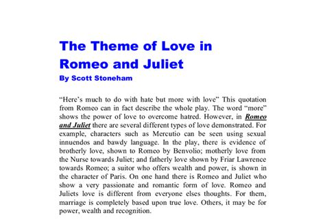 themes and resolution in romeo and juliet part 8 themes of love and conflict in william shakespeares romeo