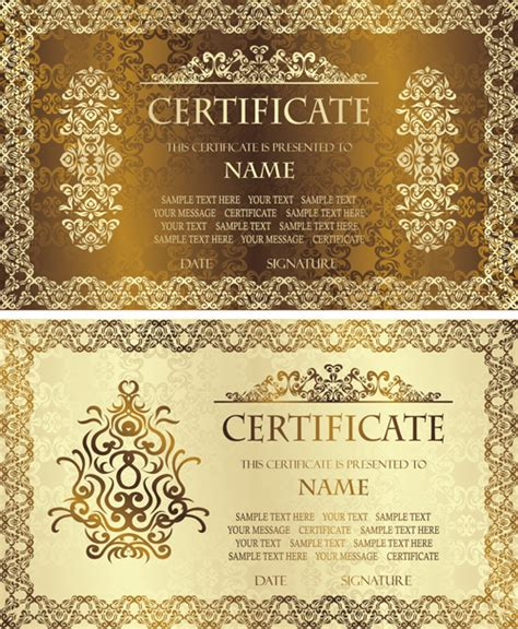 certificate design vector file golden template certificate design vector 01 vector