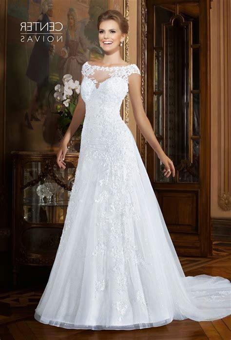 sheer beaded back wedding dress a line bateau neckline cap sleeve organza lace beaded