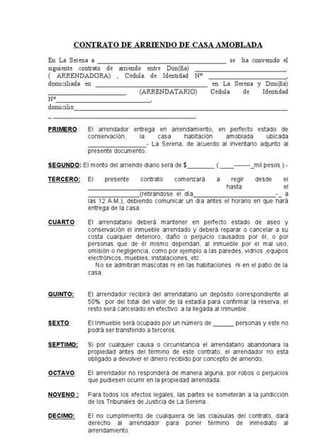 contrato de renta de casa en espanol gratis contrato de arriendo de casa amoblada