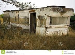 Tires On Trailer House Roof Single Wide Trailer Disrepair Junk Royalty Free Stock