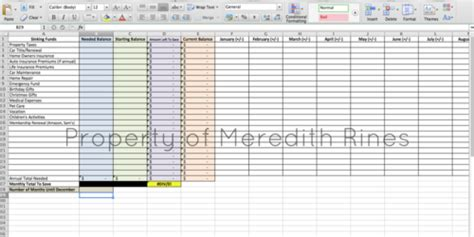 sinking funds spreadsheet organization excel budget
