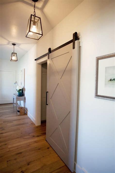 gray barn door transitional entrancefoyer utah