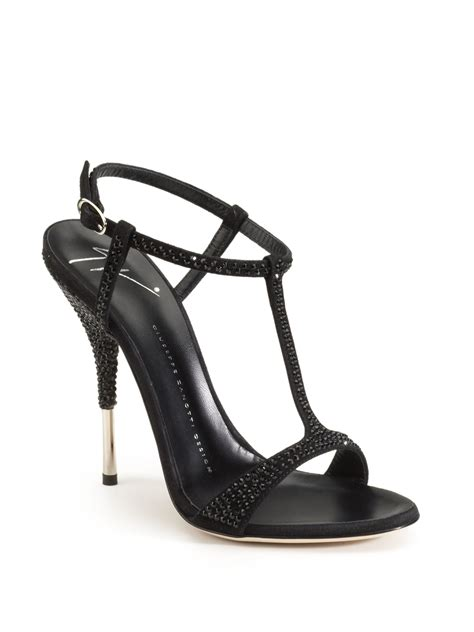 black high heels with rhinestones giuseppe zanotti rhinestone tstrap high heel sandals115mm
