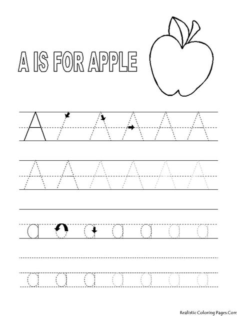 page worksheet alphabet tracer pages a for apple coloring pages letter tracing preschool