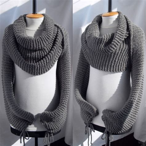 free knitting patterns shawl with sleeves bolero sweater scarf shawl with sleeves at both ends in grey