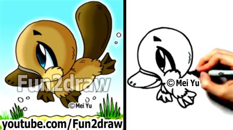 fun2draw how to draw cartoons chibi platypus draw